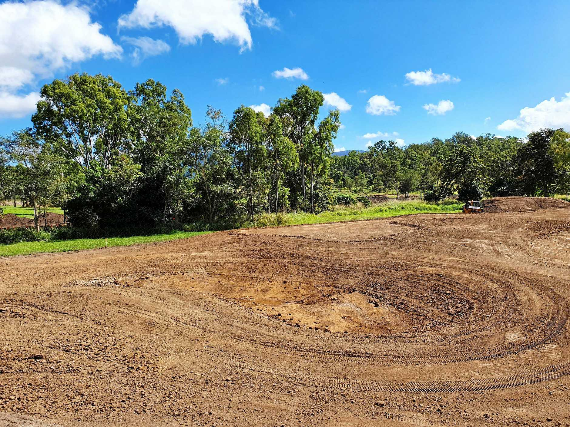Construction of a bunker at the Whitsunday Green golf course.