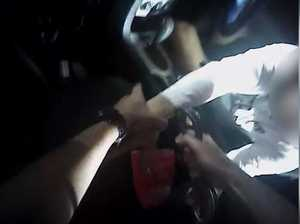 VIDEO: Man allegedly tries to flee police - but gets stuck