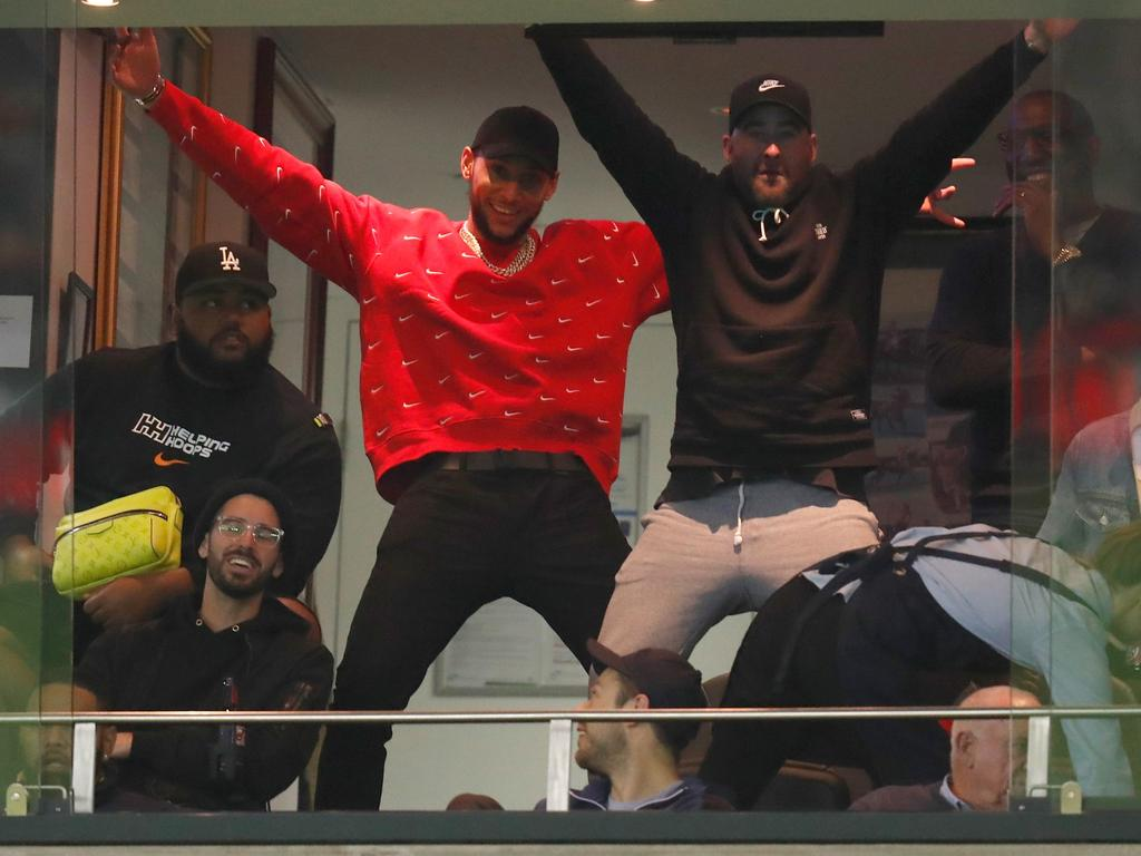 Ben Simmons cheers on his beloved Bombers. (Photo by Michael Willson/AFL Photos)