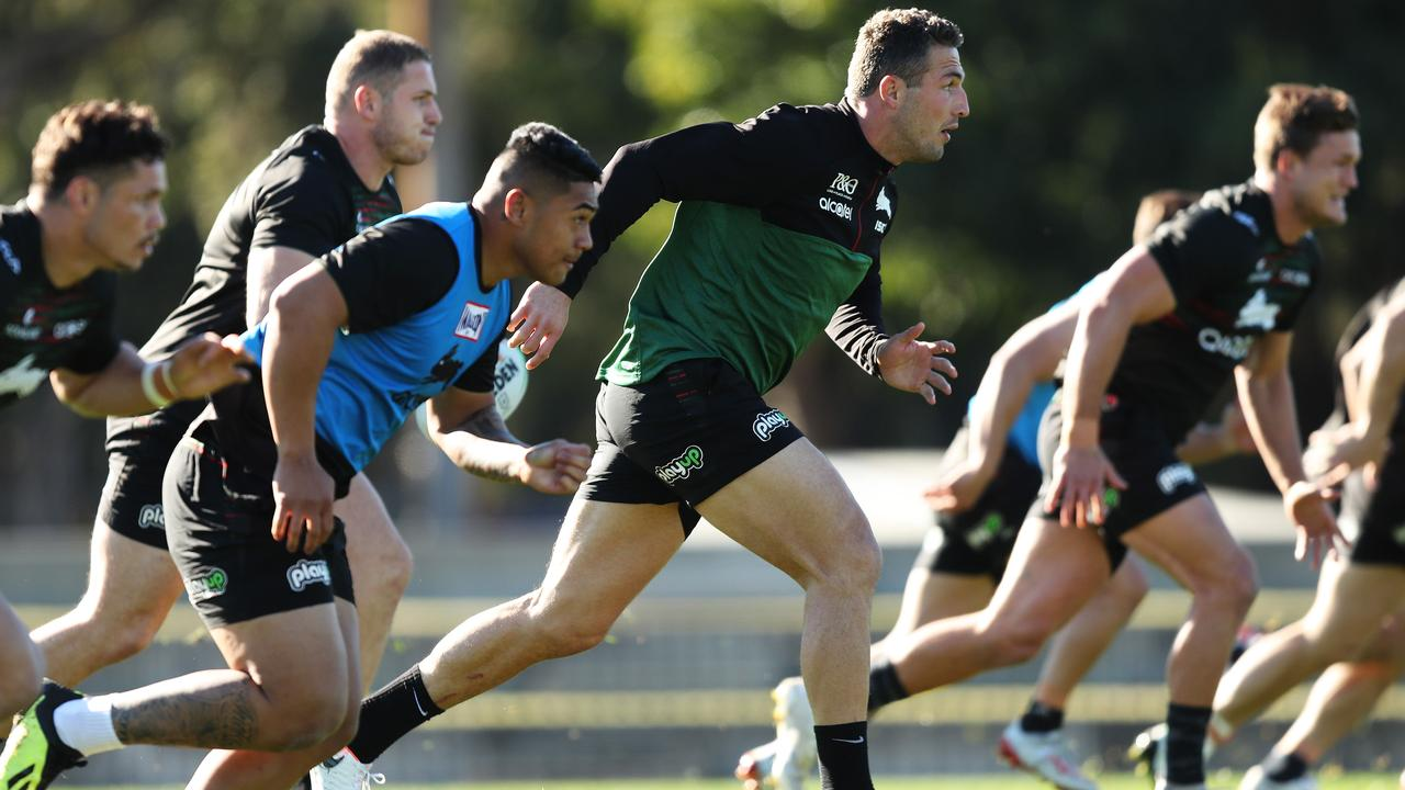 Sam Burgess at South Sydney training at Redfern Oval. Picture: Brett Costello
