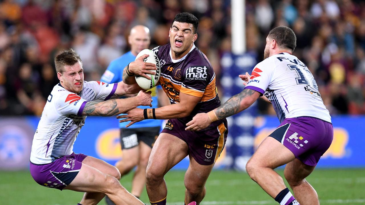 Young star David Fifita had a tough night against Melbourne. Picture: Bradley Kanaris