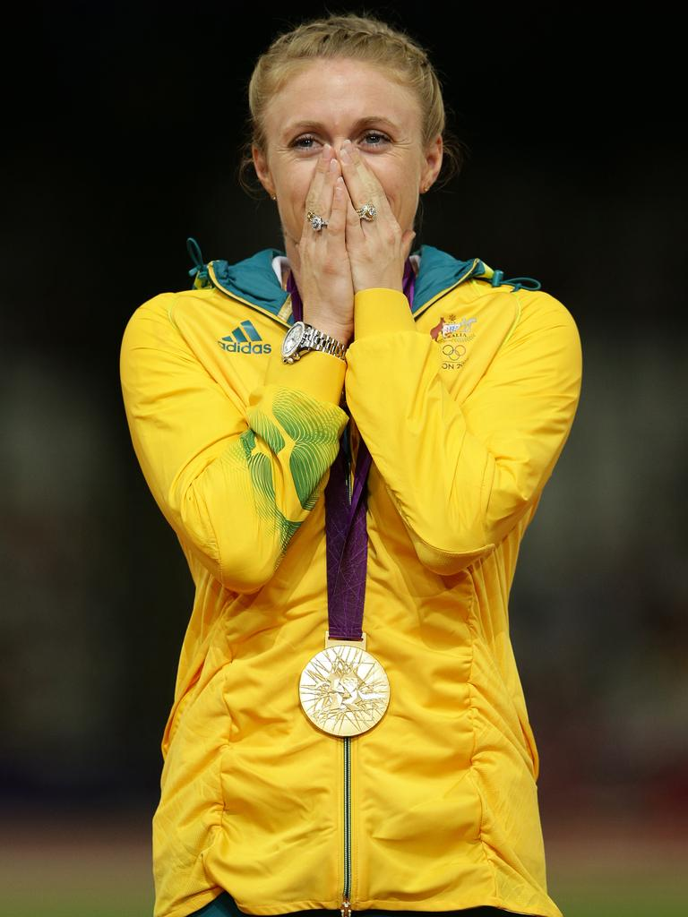 Pearson on the podium after winning gold at the London Olympics.