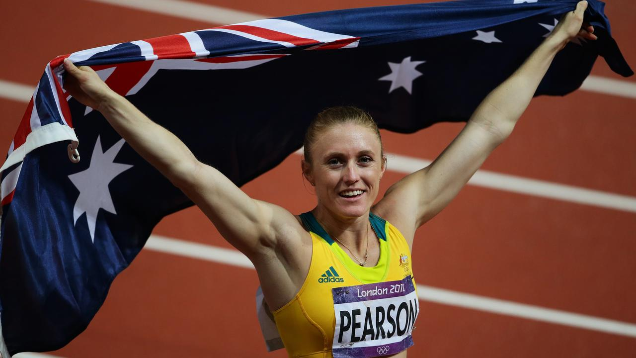 Sally Pearson after winning gold at the London Olympics. Picture: Brett Costello