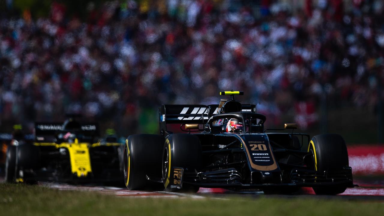 Daniel Ricciardo was stuck behind Kevin Magnussen.