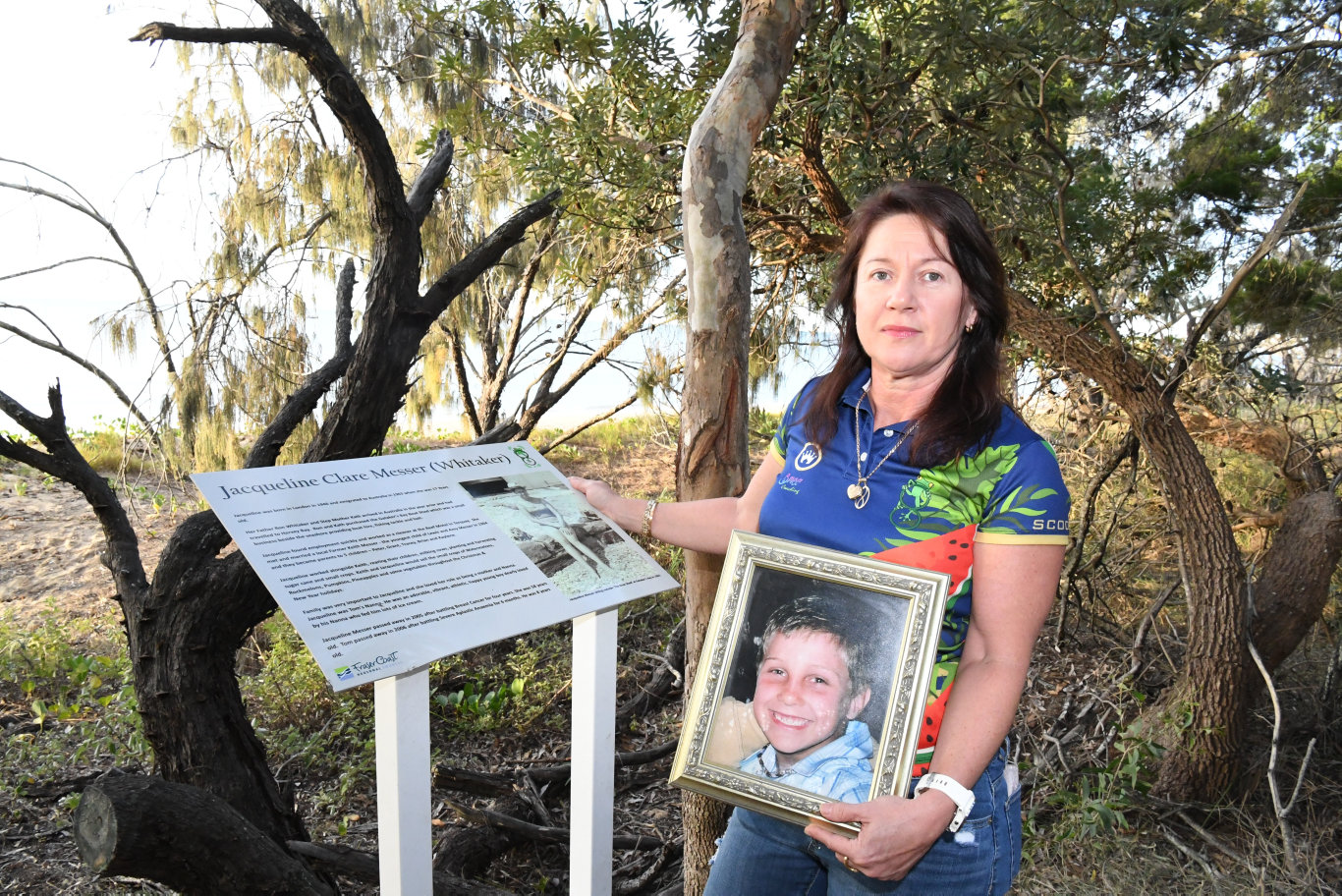 CRUEL VANDALISM: Tracey Messer at the site of Tom's Walk which was graffitied earlier this week. The vandalism has since been cleaned up but Ms Messer said it was still upsetting to hear about it.