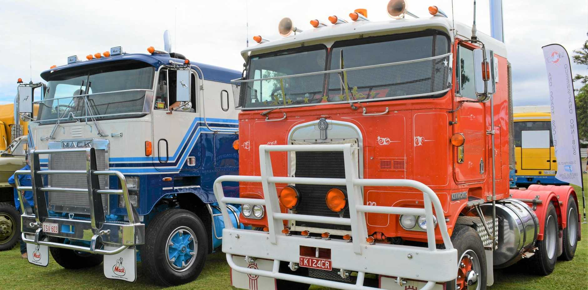 WHAT A BEAUTY: Darren's Mack at Rocklea with another heavy-hitter from the 1980s, a Kenworth K124.