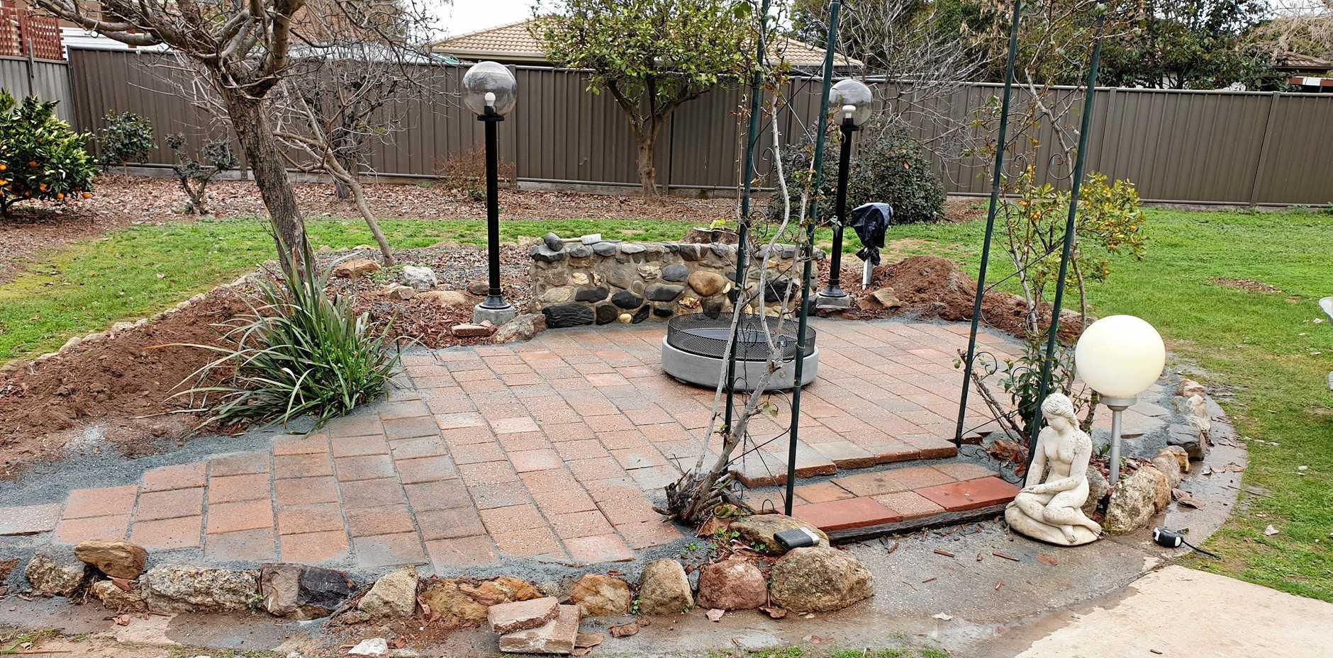 STONE HEDGE: The progress in Kermie's backyard.