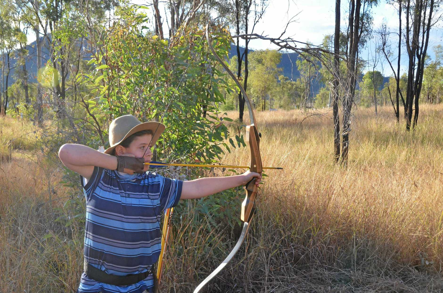 ON TARGET: Samuel Draper of Gladstone takes aim during the North Burnett Field Archers' traditional weekend.