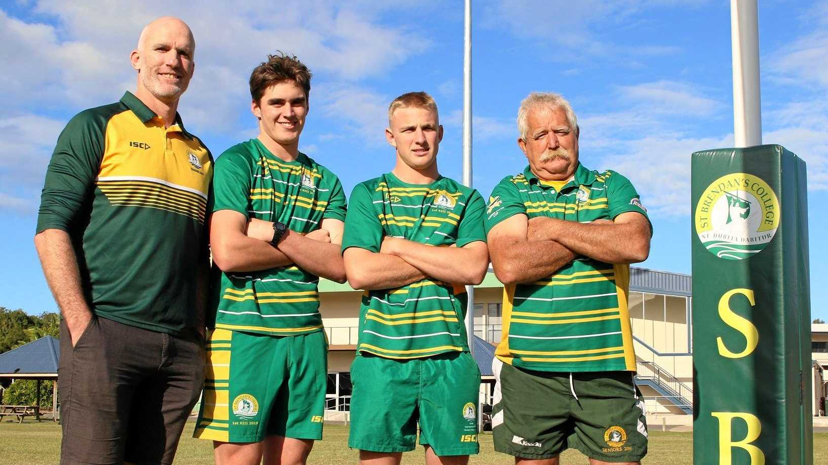 St Brendan's College First XIII assistant coach Scott Minto, co-captains Bill Gunning and Sam Strohfeldt and coach Terry Hansen.