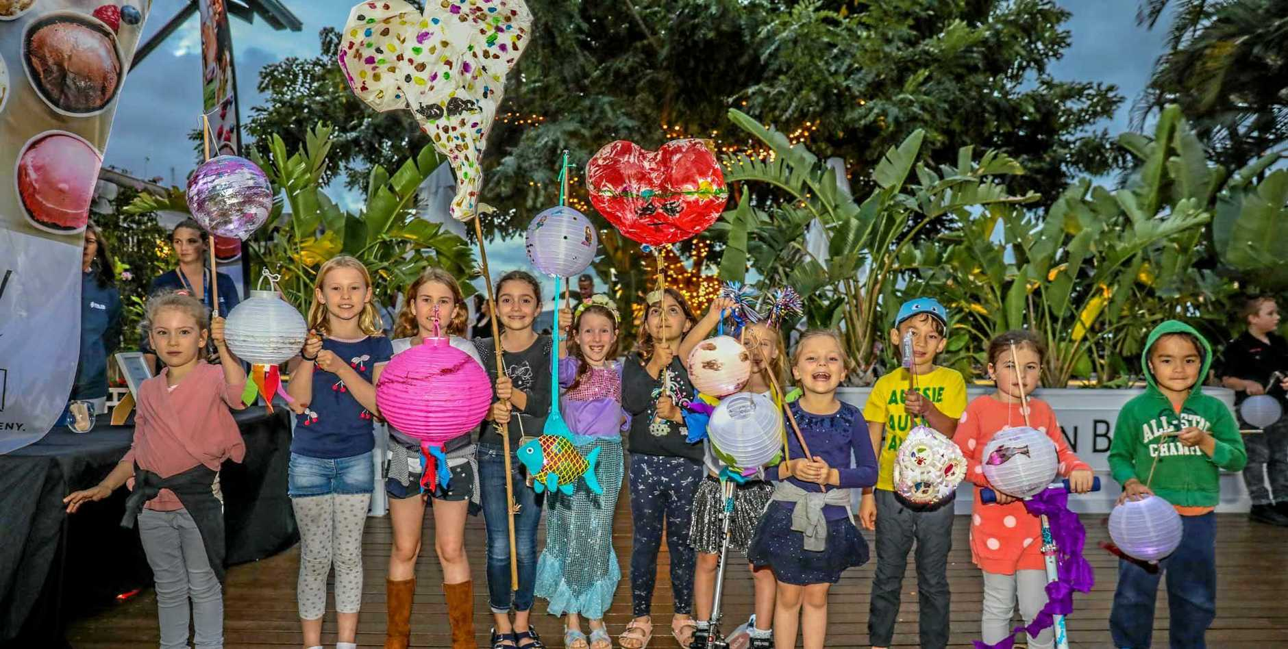 Shining a light on the Great Barrier Reef during the Coral Sea Marina Resort Lantern Parade.