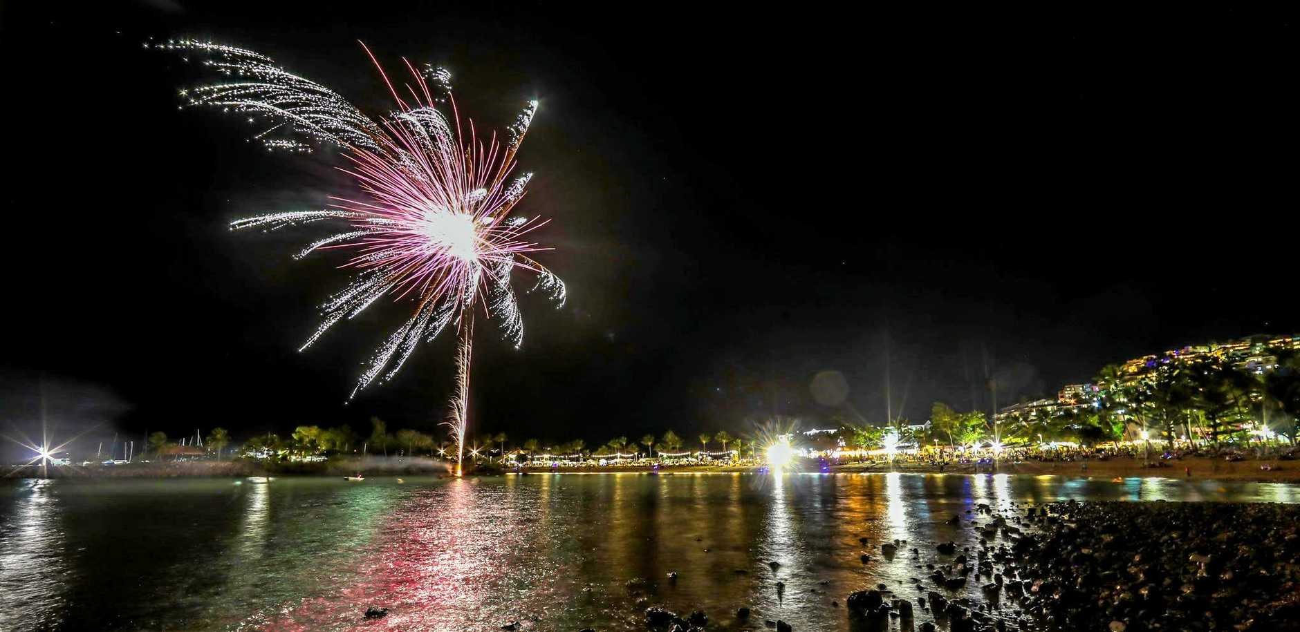 The fireworks display above Airlie Beach Foreshore last Friday night.