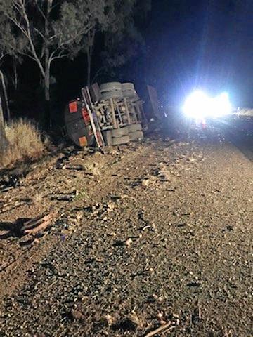 Molasses spilt across the Burnett Highway when a truck ran off the road.