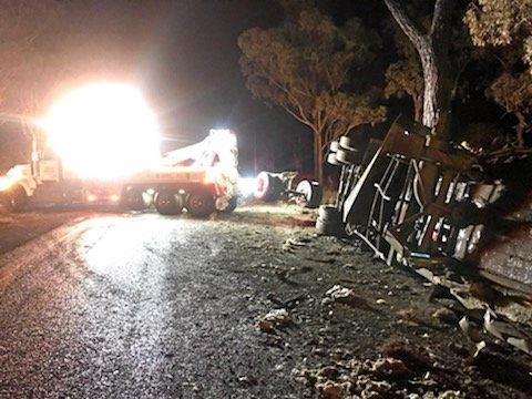 TRUCK CRASH: Molasses was spilt across the Burnett Highway when a truck ran off the road.