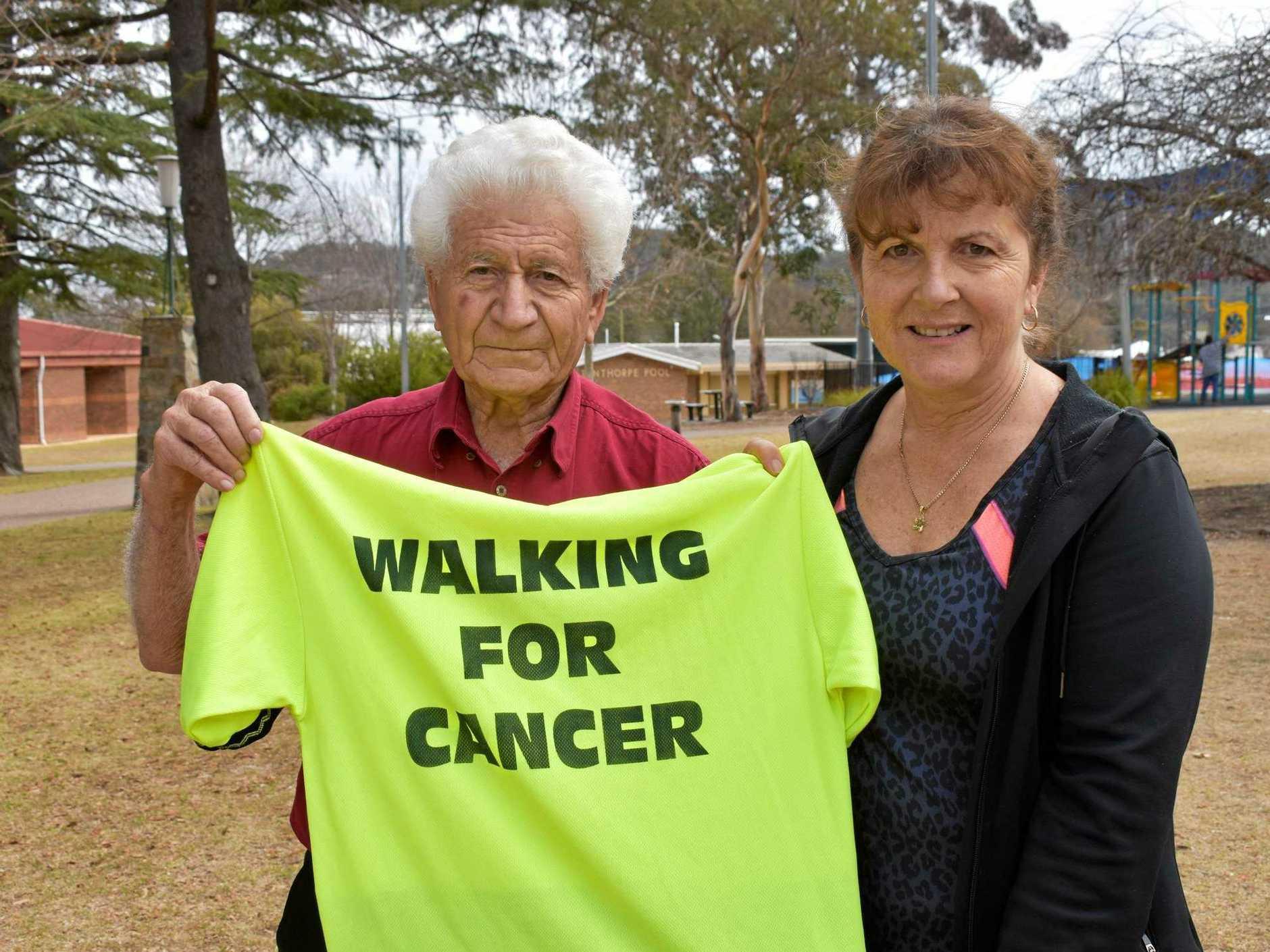 Sam Christina and Lynette Torrisi with Sam's original Walking for Cancer shirt.