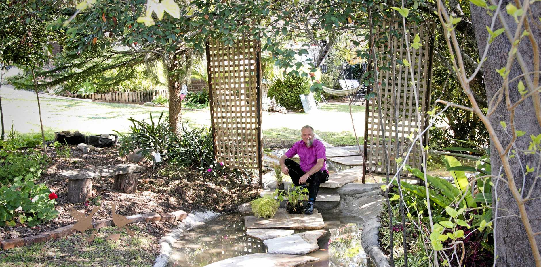 WATER PARADISE: Toowoomba gardener David Stanfield has created two new ponds and is hoping readers might have water plants they could donate.