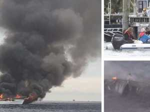 Dramatic moment whale-watching boat bursts into flames