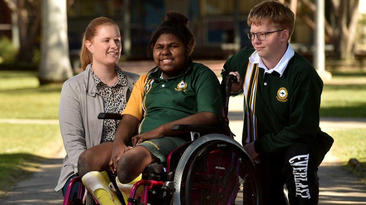 Head of inclusive schooling at Thuringowa High Loren Swancutt with students Geordy Barsa, 14, and Lachlan Taylor, 14. Picture: Evan Morgan