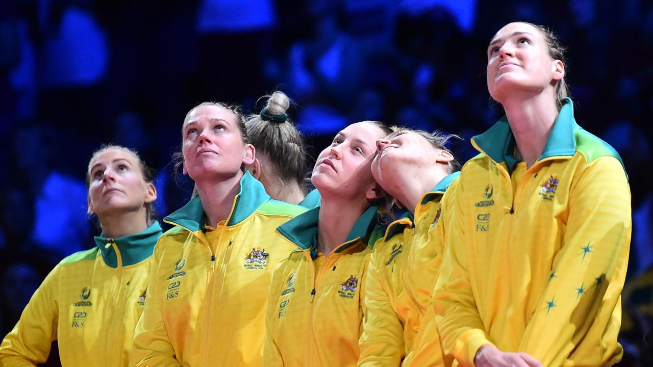 Australia players look on after losing the Vitality Netball World Cup Final match between Australia and New Zealand. Picture: Nathan Stirk/Getty Images