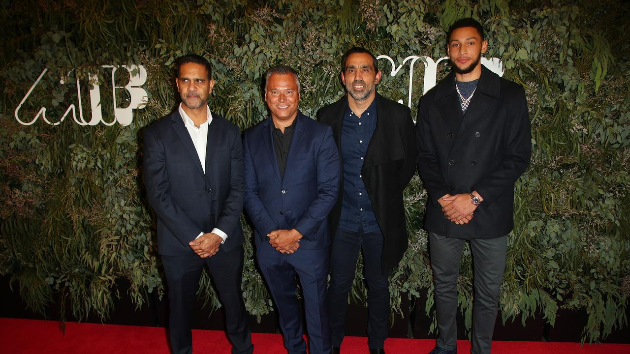 Michael O'Loughlin, Stan Grant, Adam Goodes and Simmons arrive at the world premiere of Goodes' The Australian Dream at the Melbourne International Film Festival. Picture: Getty