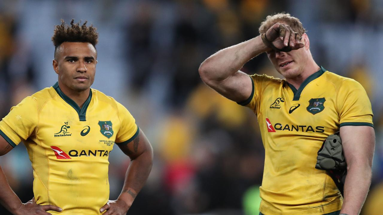Will Genia and David Pocock after another Bledisloe defeat. Picture: Brett Costello