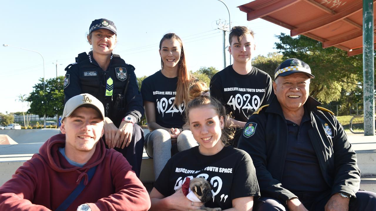 Moreton District Crime Prevention Unit officer Sarah Grayson, Ally Zoeke, Kaya Harkins, Jaydan Rogalevs, Emma Richter and Sir Frankie and Raro Tevita
