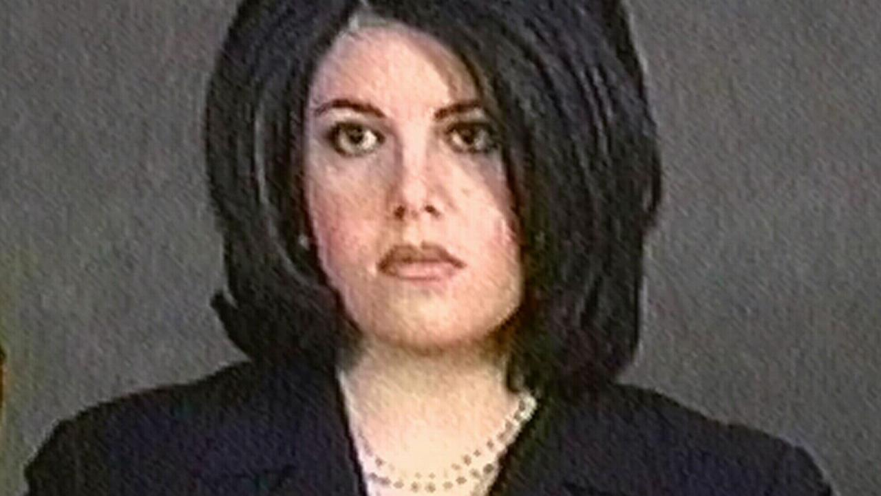 Monica Lewinsky being sworn in during her videotaped deposition in impeachment trial of President Bill Clinton. Photo: AP