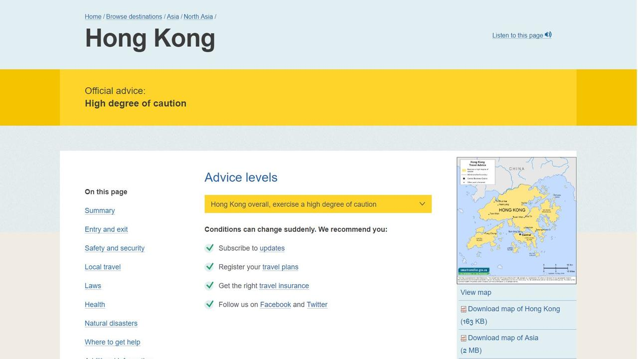 "The Australian Government's Smart Traveller website is warning travellers to ""exercise a high degree of caution"" in Hong Kong amid violent protests. Picture: Supplied"