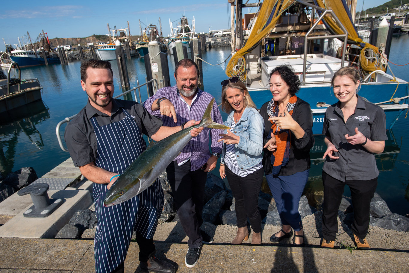 Ocean Harvest Festival organisers Carl Mower and Sherry Price from Another Tasty Event, Nicole McLennan from Coffs Harbour City Council with Joshua Cook and Bec Wilson from the Coffs Harbour Fishermen's Co-op.