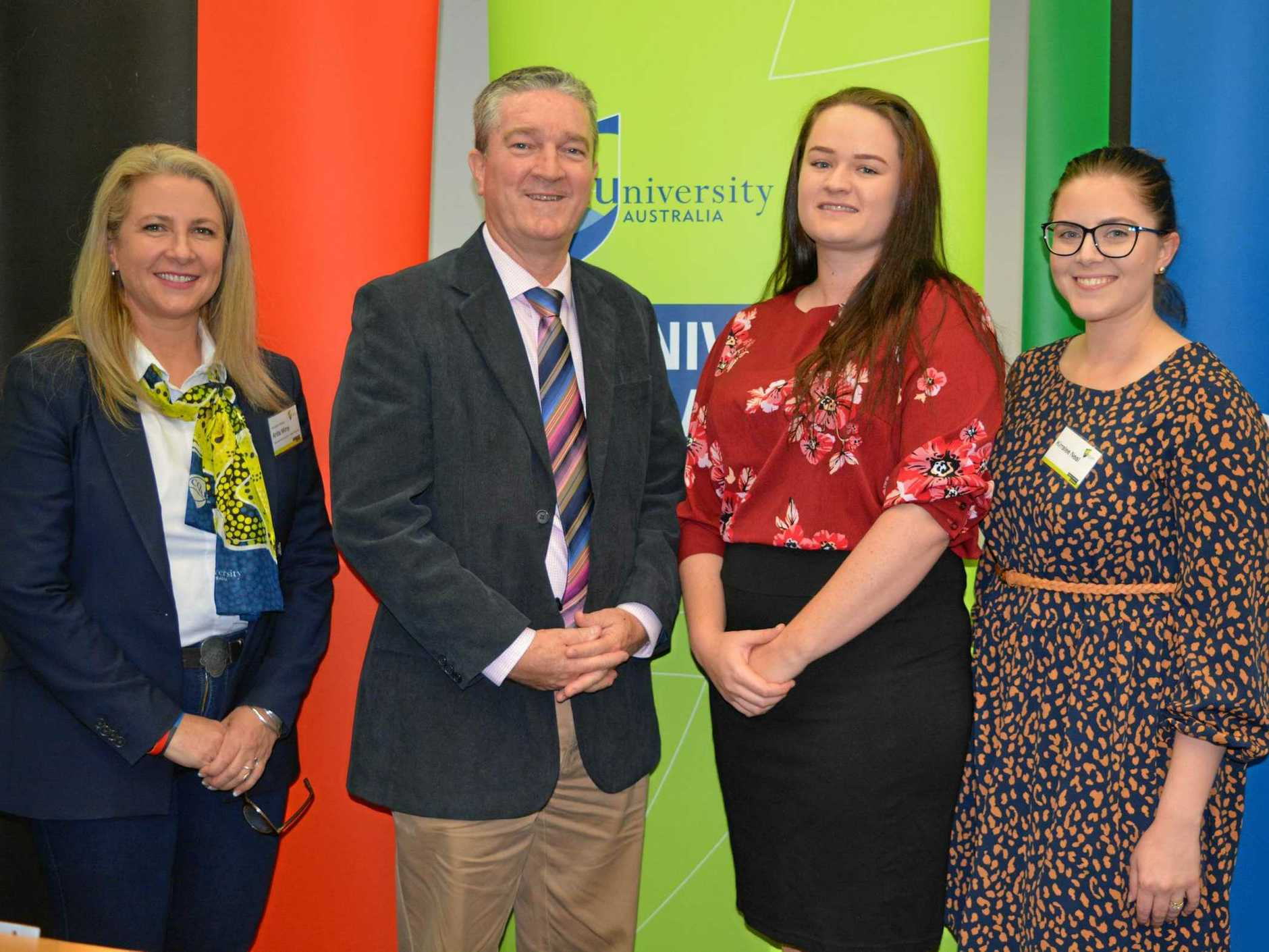 WELL DONE: CQUniversity associate vice-chancellor (Central Highlands) Associate Professor Anita Milroy and Central Highlands  Mayor Kerry Hayes congratulate Dakota Davis and Kirralee Neal on their success at the CQUniversity 2019 Student Awards ceremony.