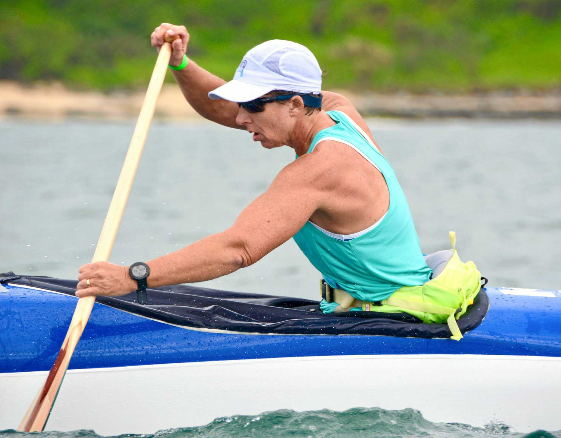 Rockhampton outrigger Kathy Barsby in action.