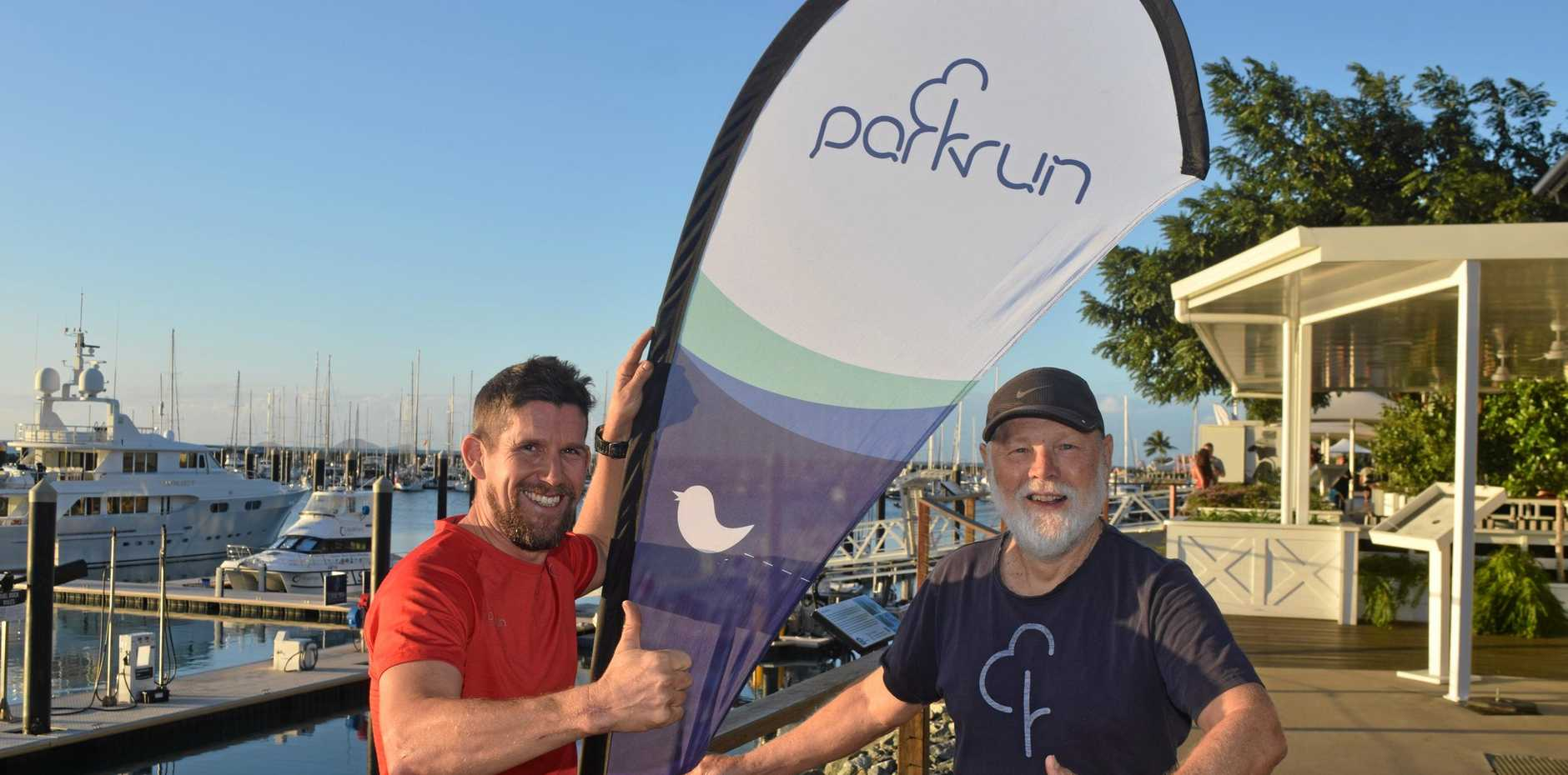 MILESTONE: Airlie Beach Parkrun event directors Justin Gray-Knight and Bob Barford are looking forward to the 200th Airlie Beach parkrun on Saturday.
