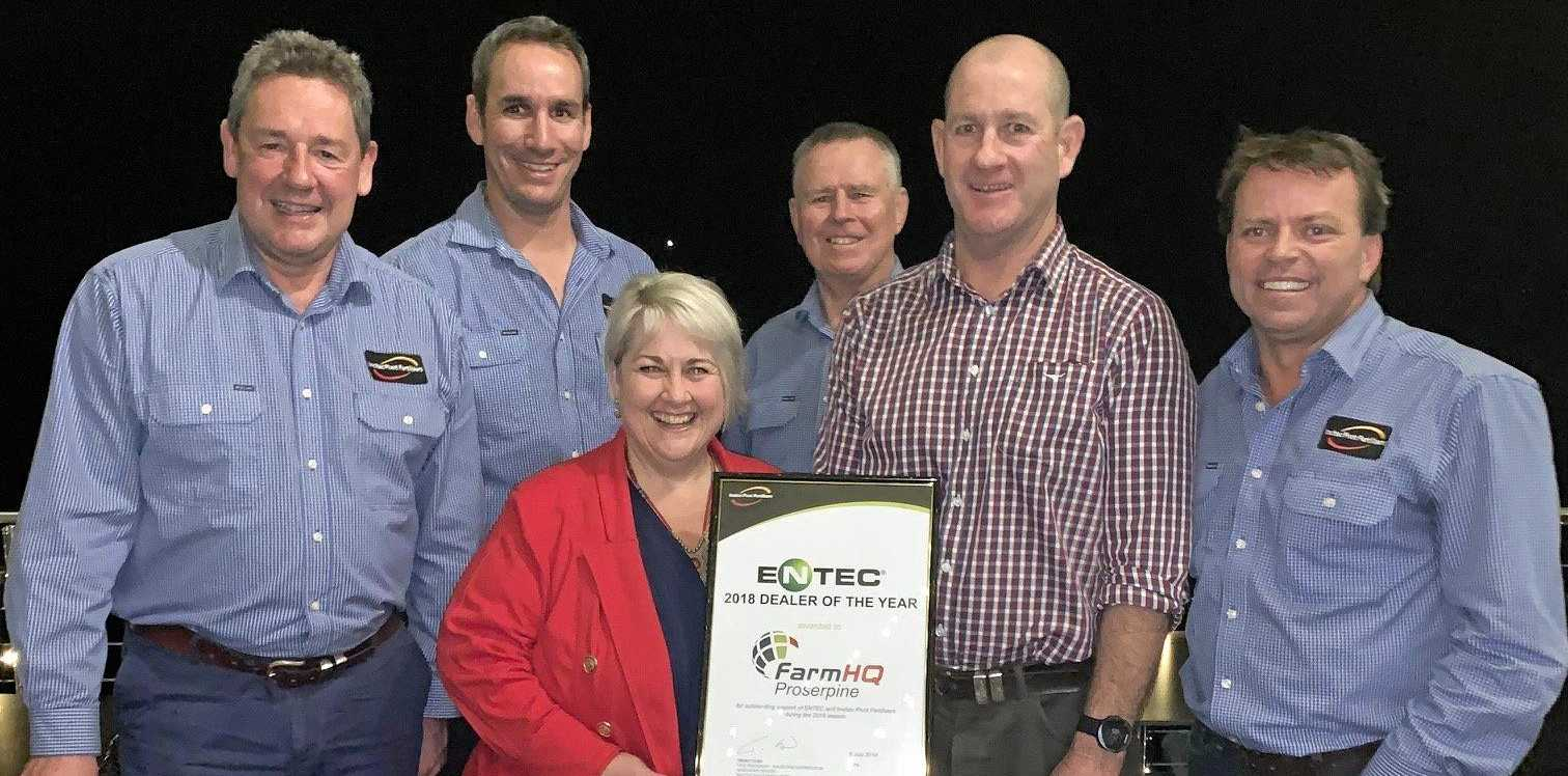 WIN: Farm HQ's Donna and Paul Rogers accept their   award from (back from left) Stephan Titze, Justin Turvey, Noel Matthews and Trent Cosh of Incitec Pivot Fertilisers.