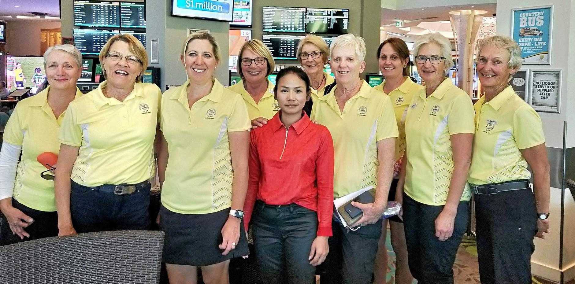 The Warwick team performed well in an open day pennants at the City Golf Club this week. (From left) Di Evans, Marg Adcock, Mel McLennan, Judy Lester, Nachcha Craggs, Yvonne Pinington, Majella Kahler, Anna Cox, Mary Young and Jill Barnes.