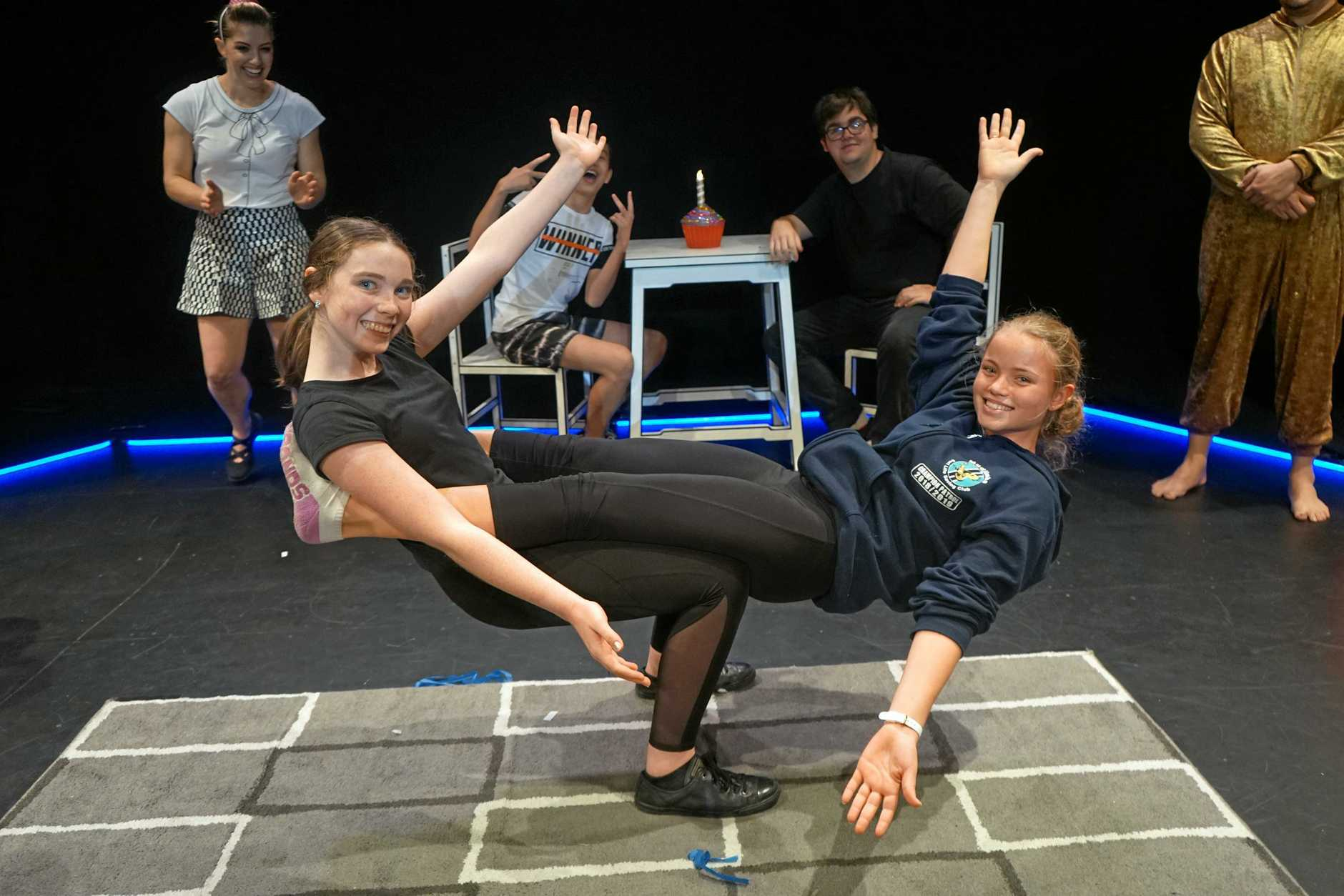 Gympie schools, council and Arts Queensland come together for Sleep Over in Gympie. Pictured is part of the cast (front) Isabel Fitzpatrick and Lahni Edward, and (back) Alfie Kay and Red Smith.