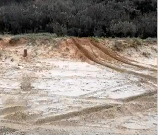 WRECKED: P-Platers have been caught on video doing doughnuts and destroying the sand dunes at Double Island Point last weekend.