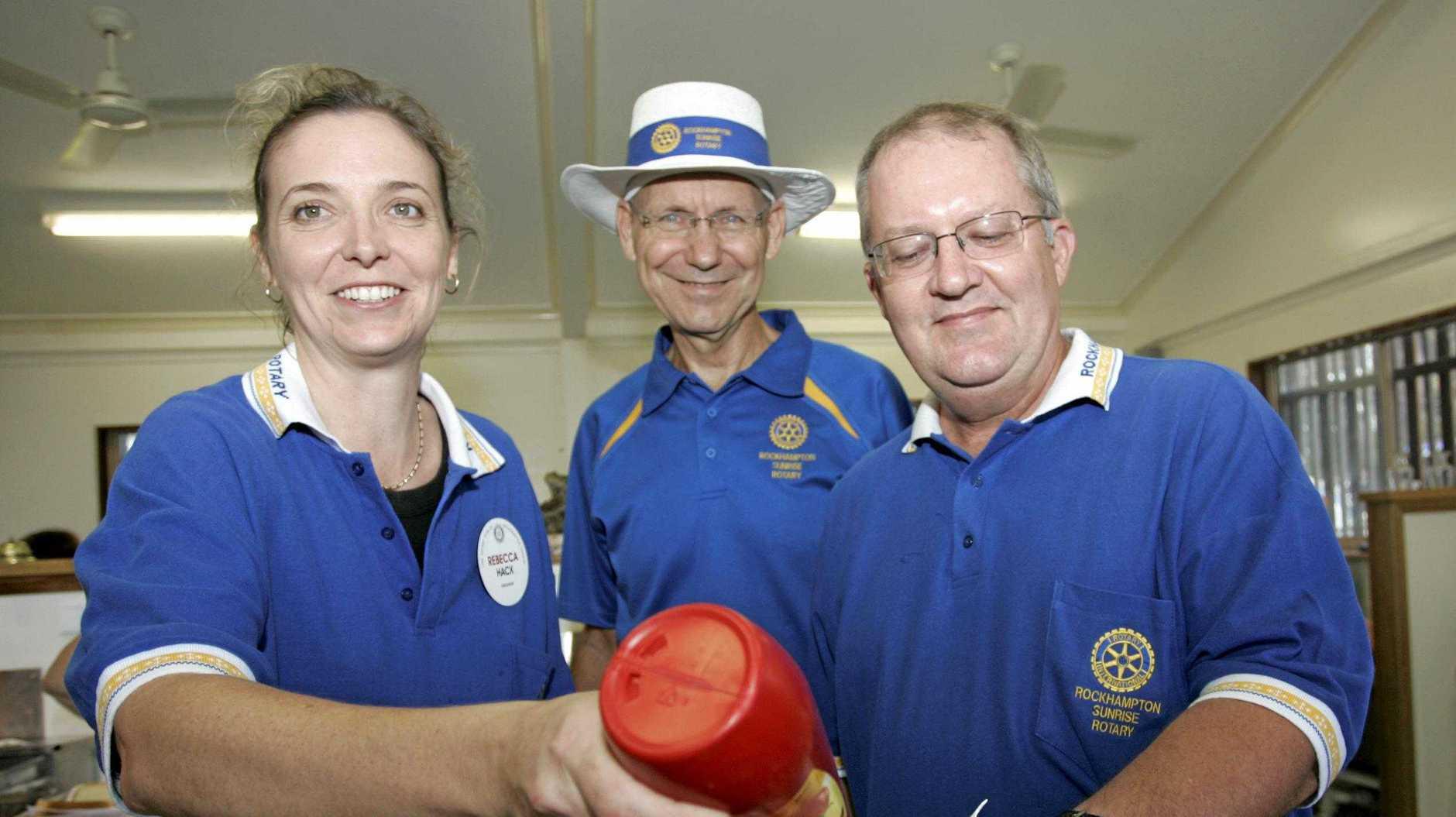 Rebecca Hack, Austin Grillmeier and Don Wilschefski. Bring Back the Sunshine Flood Appeal Charity Day on Mount Archer.