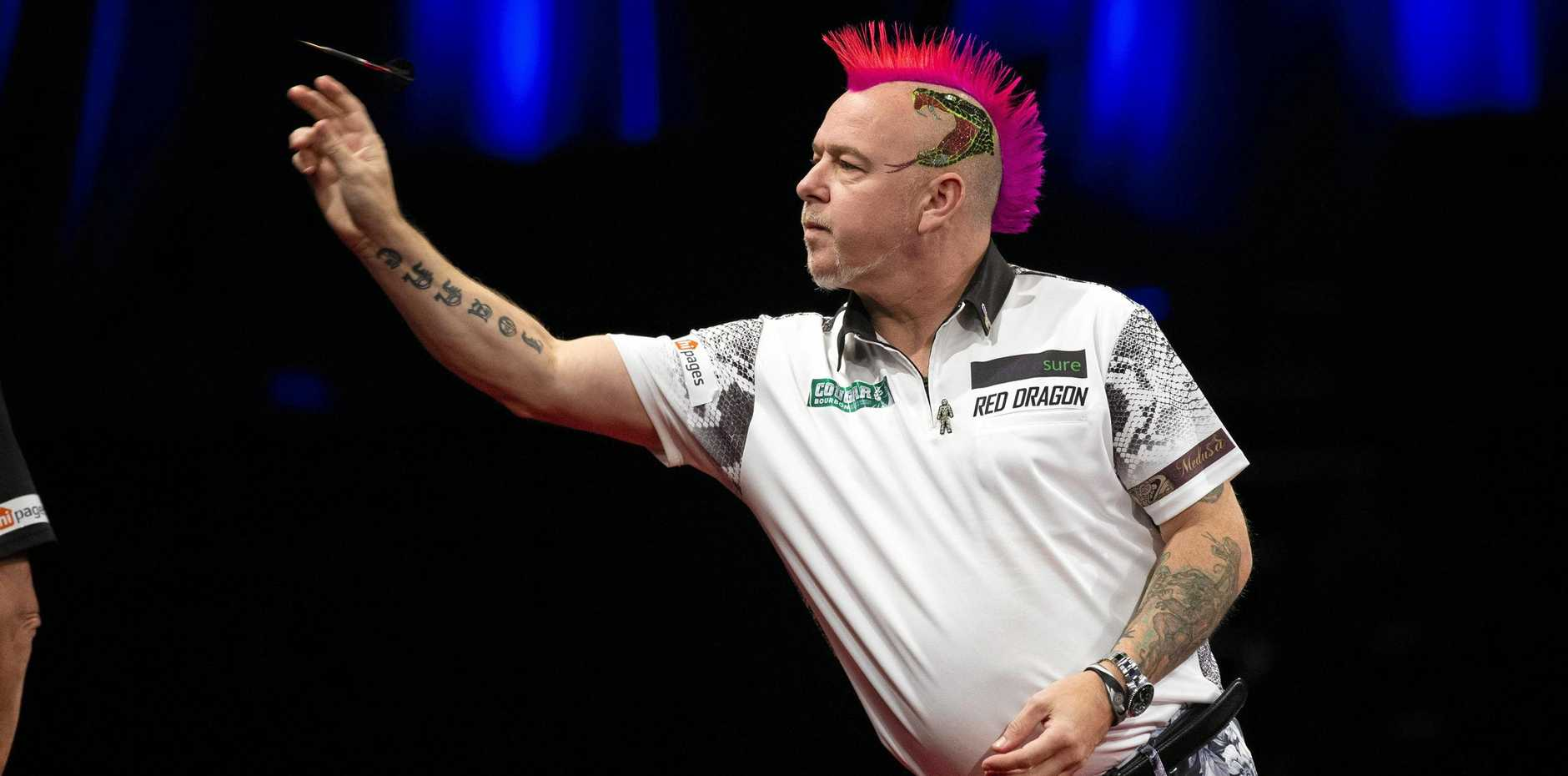 Peter Wright in action at the Brisbane Darts Masters in 2018.