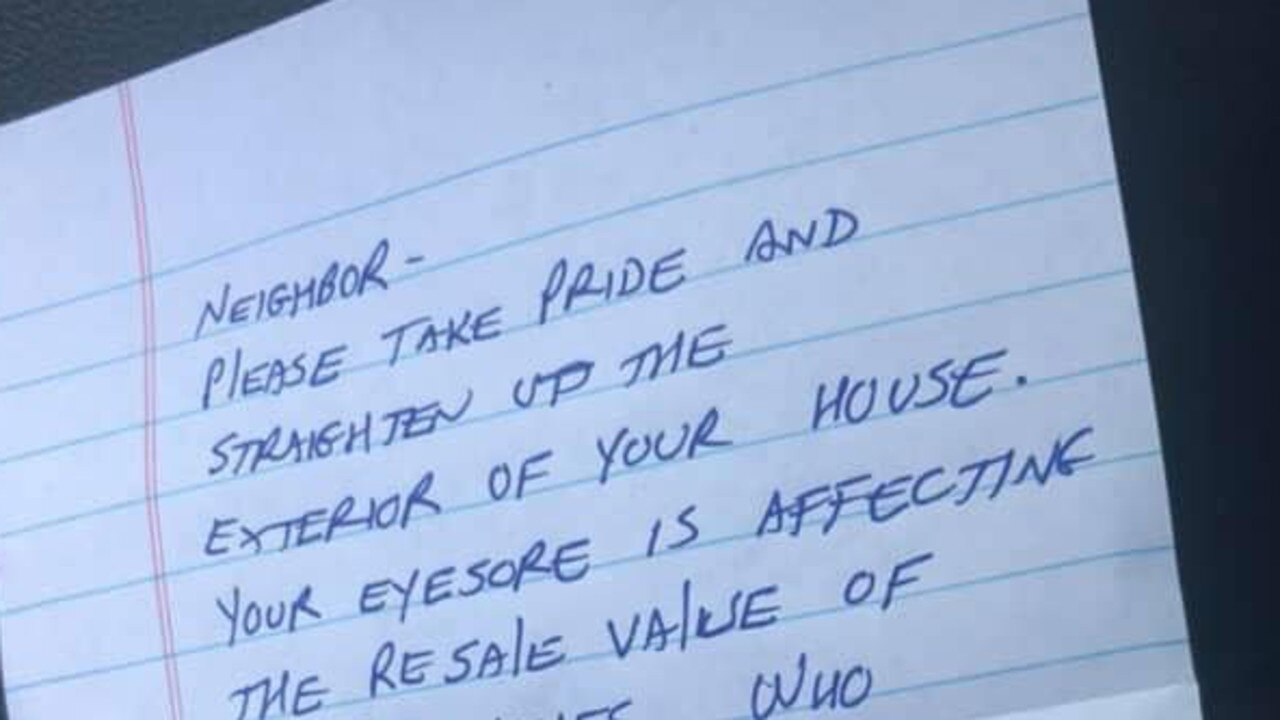Mum horrified when she receives nasty note from neighbour. Picture: Facebook / Randa Ragland