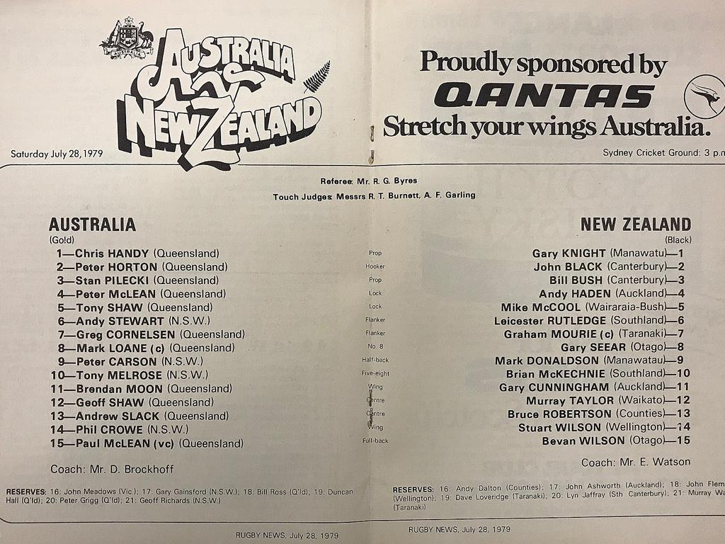Match program team lists from famous 1979 Wallabies' win over All Blacks. Picture: Supplied.