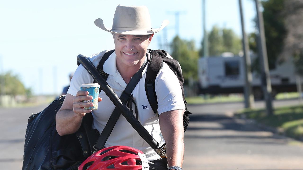 Robbie Katter cycling in Julia creek.