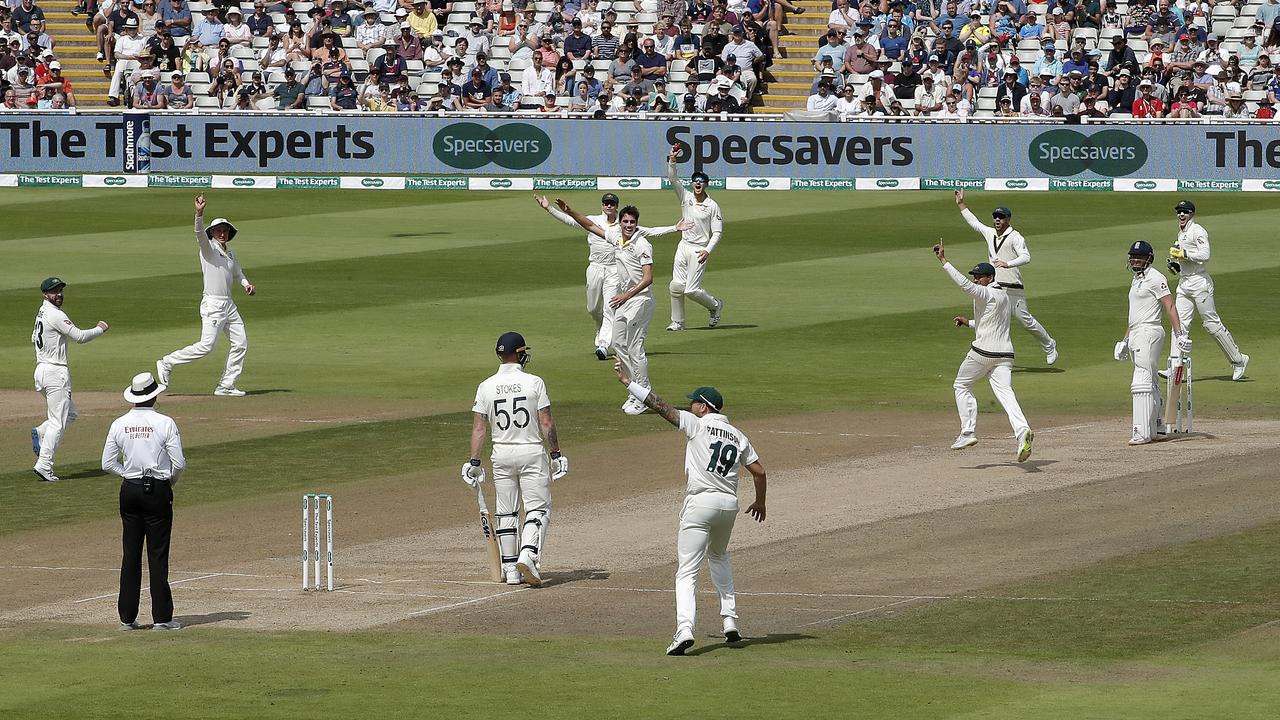 HUGE MOMENT: Pat Cummins of Australia celebrates after taking the wicket of Jonny Bairstow of England during day five of the 1st Specsavers Ashes Test between England and Australia at Edgbaston. (Photo by Ryan Pierse/Getty Images)