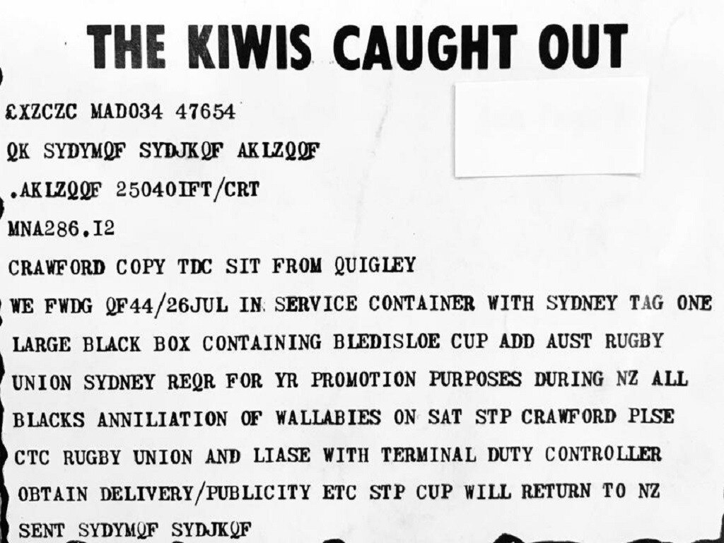The infamous 1979 Kiwi telegram boasting about their impending Bledisloe Cup win — which didn't happen.