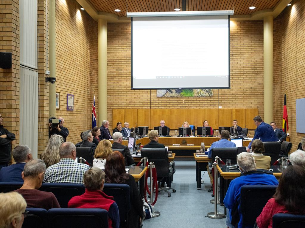 The Coffs Harbour City Council meeting discussing the future of the proposed $76.5 million Cultural and Civic Space development.