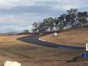 Tom Dare tests the track