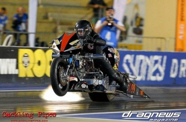 Damian Muscat racing his top fuel nitro harley at the East Coast Nationals Drag Racing Event in Sydney at the weekend.