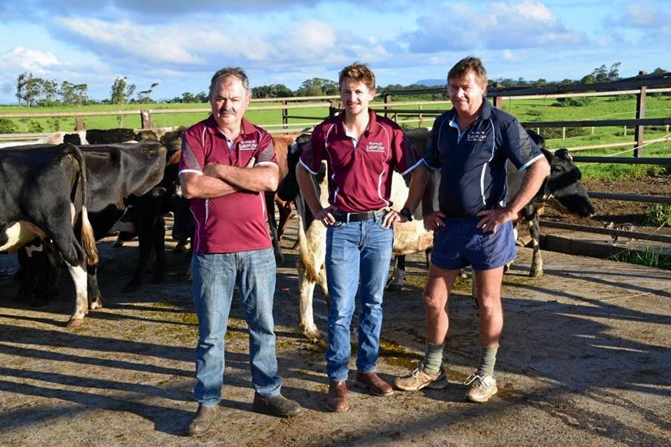 SUCCESSFUL BUSINESS: CQ United Dairies' farmers Peter Woodland, his son Matt Woodland and his brother David Woodland are producing local milk for major supermarkets.