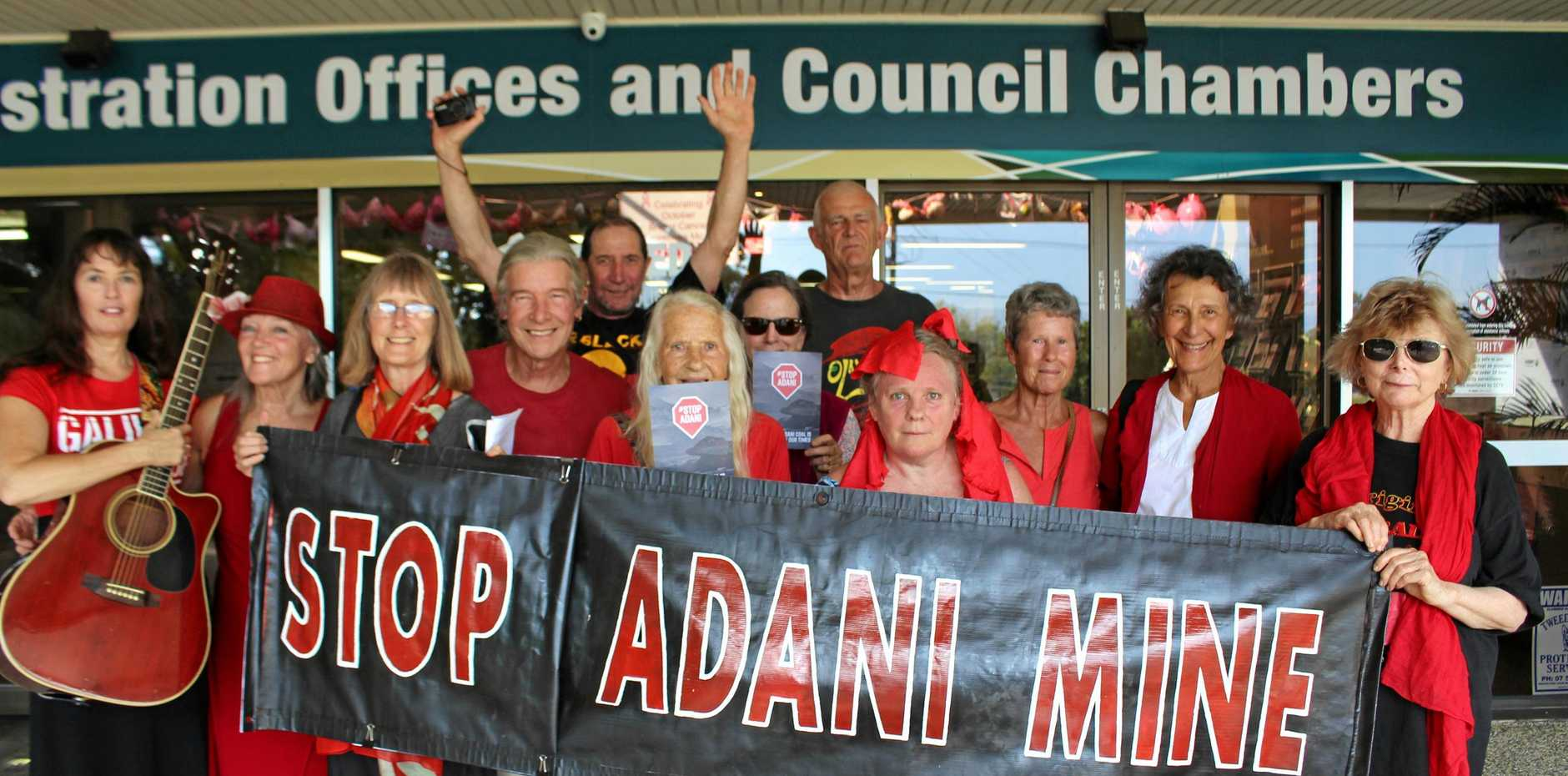 GONE TOO FAR?  Adani mine protesters gather  to support Mayor Katie Milne and the council for their hard stance on the project in 2017.