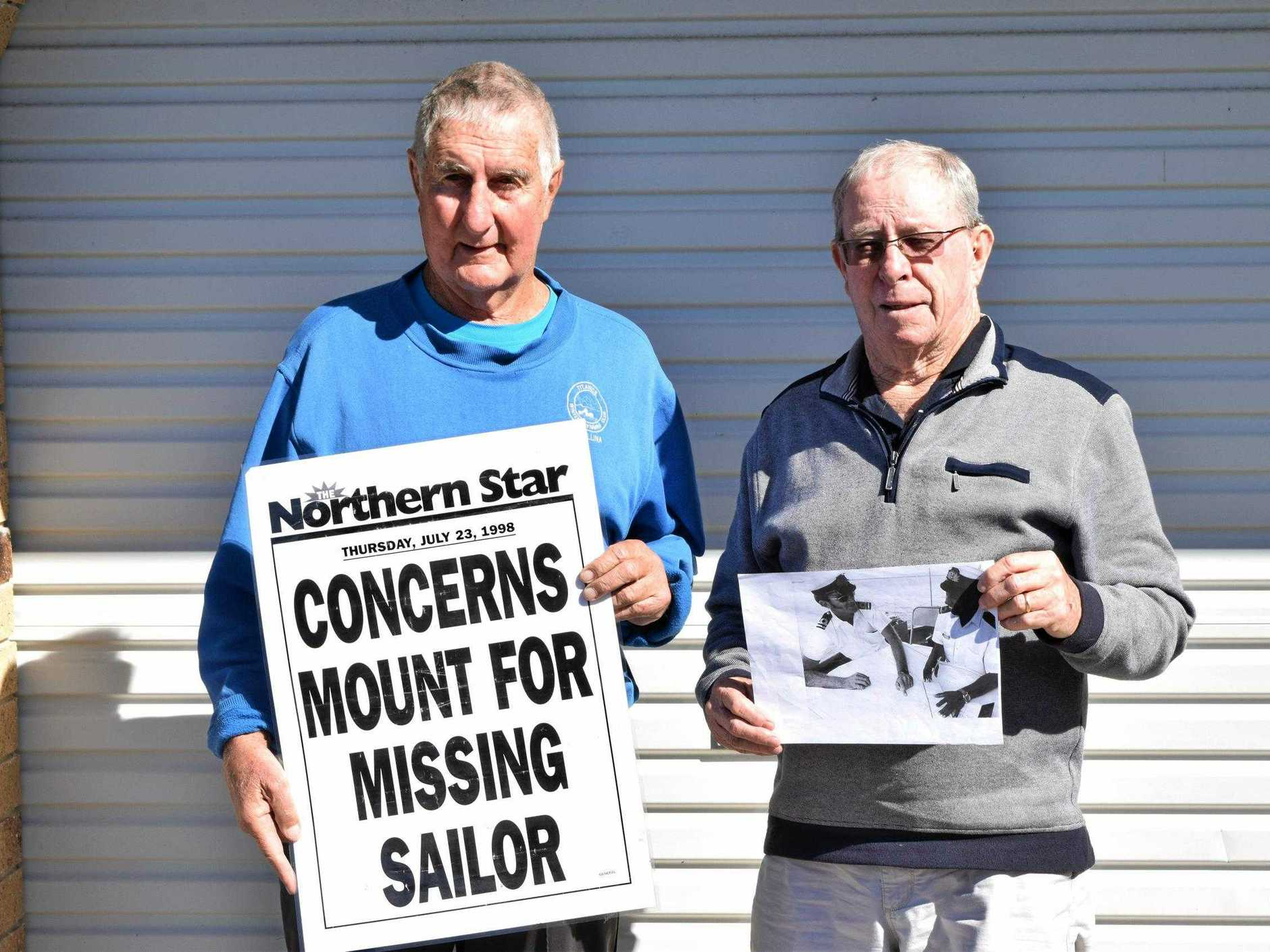 BEST MATES: Ballina's Ken Flanagan and Jim O'Mara are still baffled at their best mate Ken Heynatz's disappearance off the coast of Africa 21 years ago.