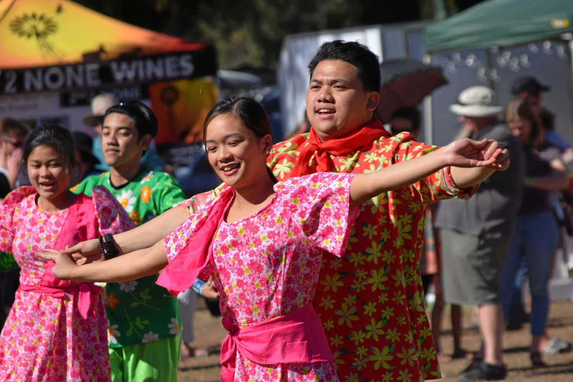 FESTIVE: Filipino dancers at Dalby's Delicious and Delightful Festival 2018.
