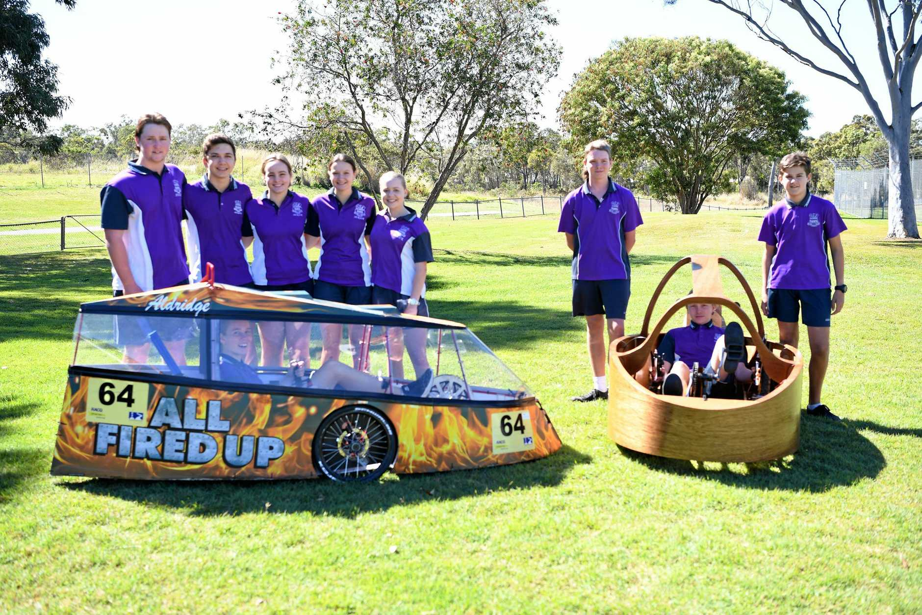 READY TO RACE: Aldridge HPV students with All fired up, Alannah Sauer (in car), Billy Terry, Jacob Brooks, Jade Hartigan, Brylee Howlett, Keeley Thompson,  Blake Hewson, Jesse Hewson (in car) and Jethro Taylor.